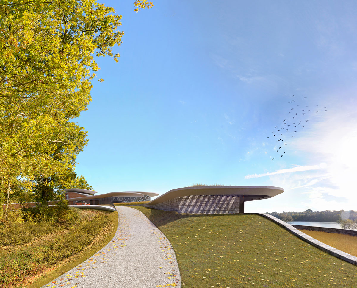 The external driveway to Waterside. Designed by Hawkes Architecture this grand design follows passive house principles.