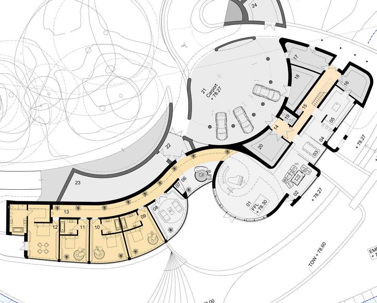 The ground floor plan drawings of Waterside. Designed by Hawkes Architecture this grand design follows passive house principles.