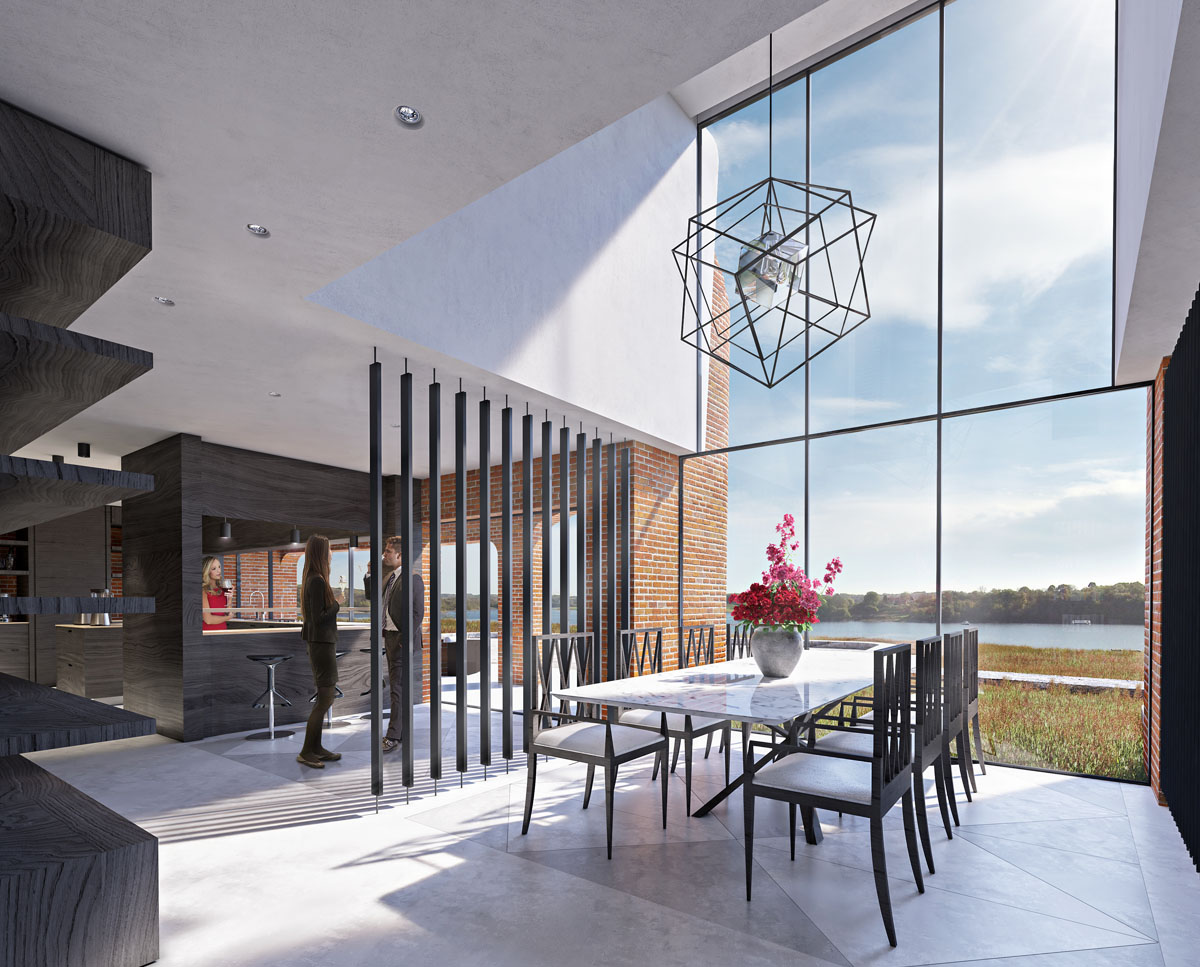 The ground floor dining room at Waterside. A large lake fronted replacement dwelling designed by Hawkes Architecture.