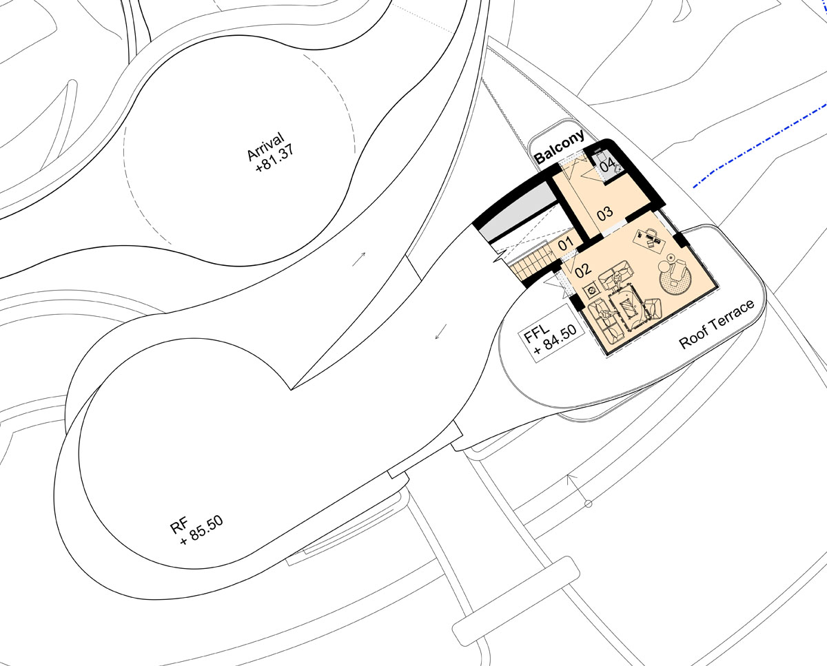 The top floor plan drawings of Waterside. Designed by Hawkes Architecture this grand design follows passive house principles.