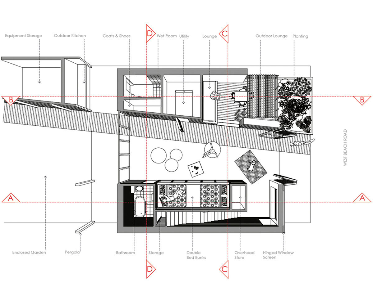Architects plan drawings of West Wittering, an eco-friendly replacement dwelling built in Chichester. Designed by Hawkes Architecture.