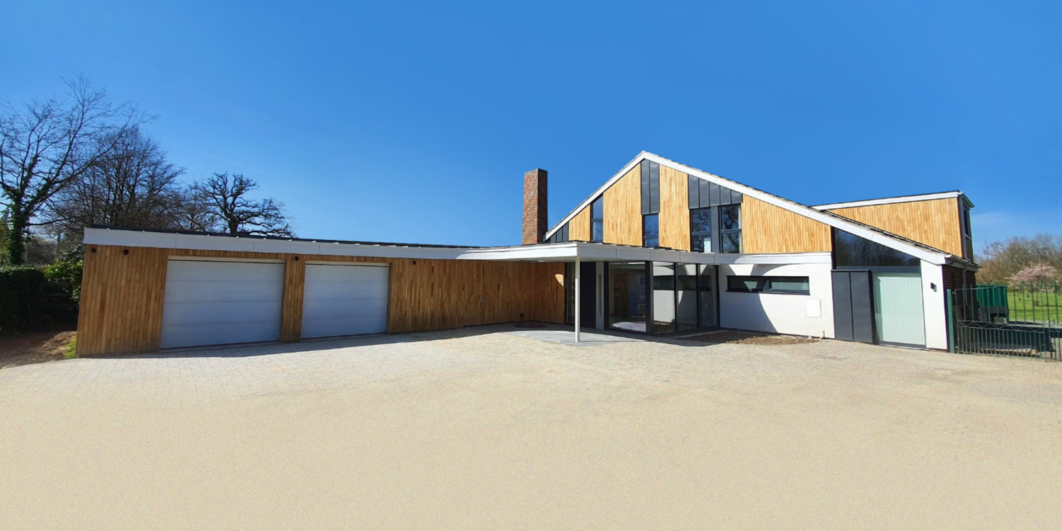 Finished exterior of Bellropes. A sustainable energy efficient family home, remodelled by Hawkes Architecture.