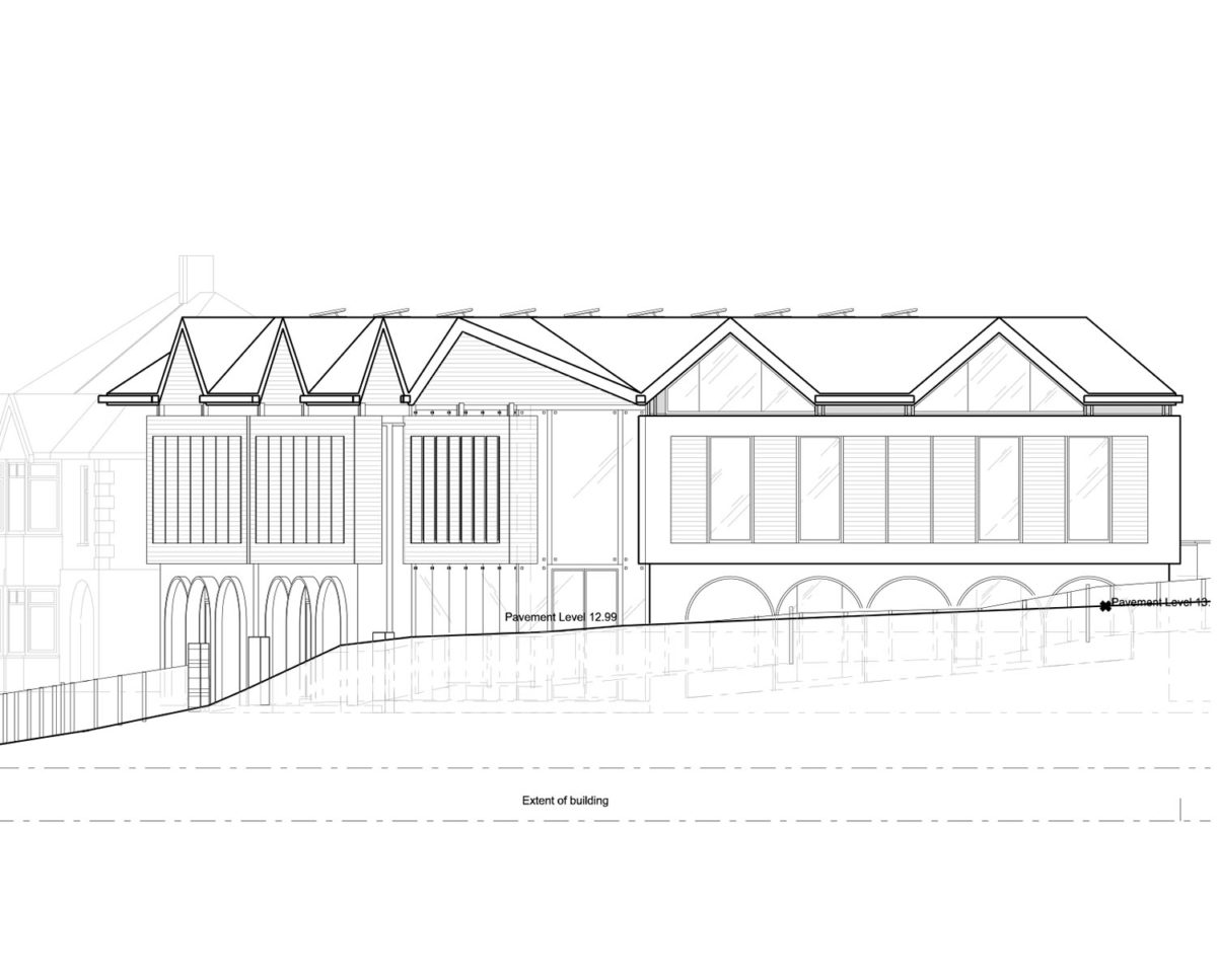 Elevation drawing of St Faiths community centre. Replacement dwelling designed by Hawkes Architecture who specialises in the design of Para 79 houses of exceptional quality and innovative nature of design.