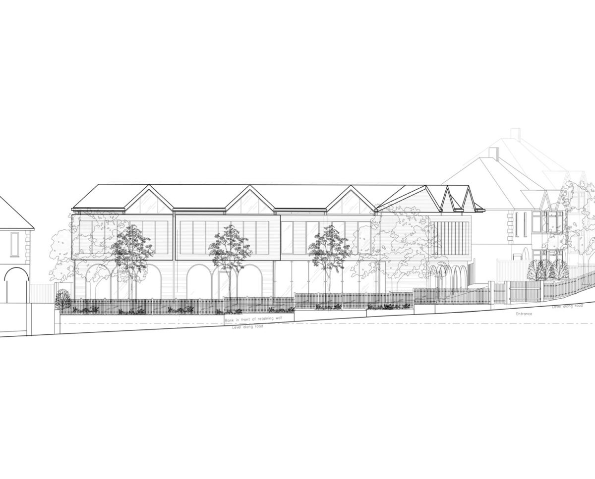 Side elevation sketch of St Faiths community centre. Replacement dwelling designed by Hawkes Architecture who specialises in the design of Para 79 houses of exceptional quality and innovative nature of design.