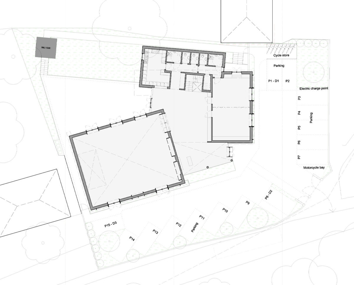 Floor plan of St Faiths community centre. Replacement dwelling designed by Hawkes Architecture who specialises in the design of Para 79 houses of exceptional quality and innovative nature of design.