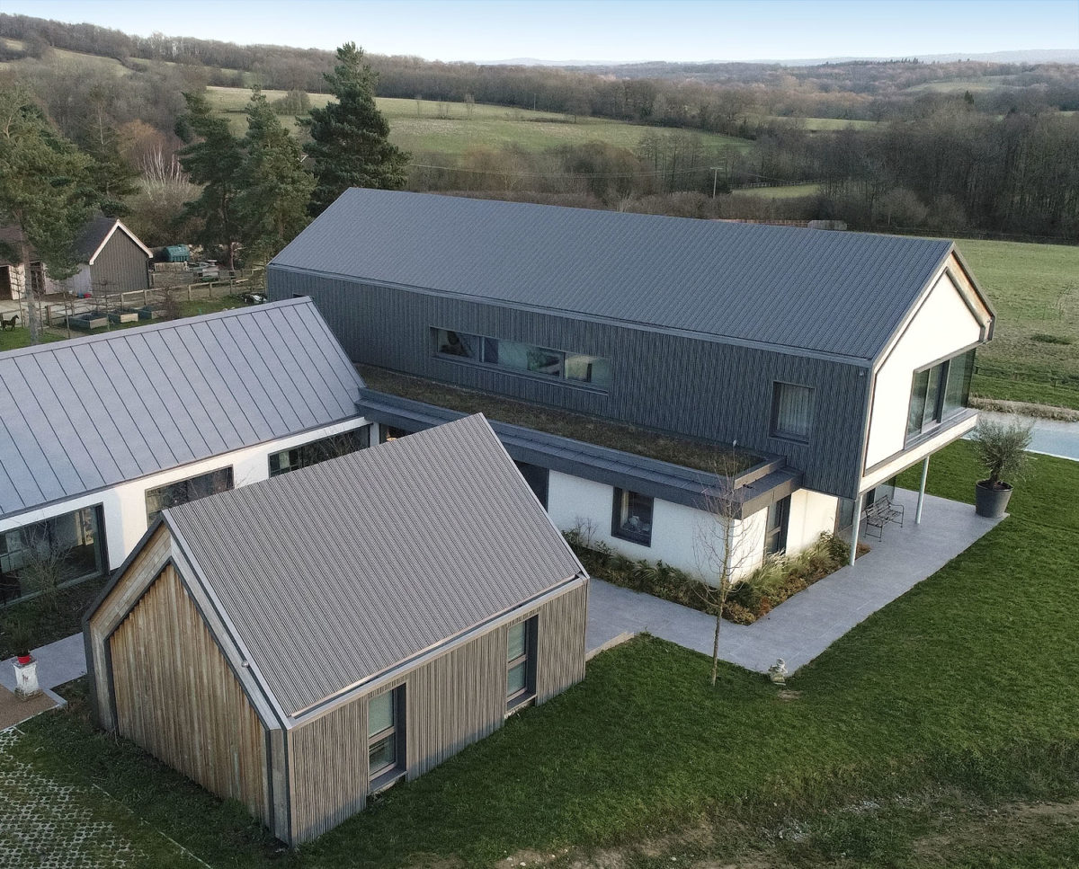 Aerial east elevation at View Point (Para 55). Designed by Hawkes Architecture, this energy efficient grand design, follows passive house principles.