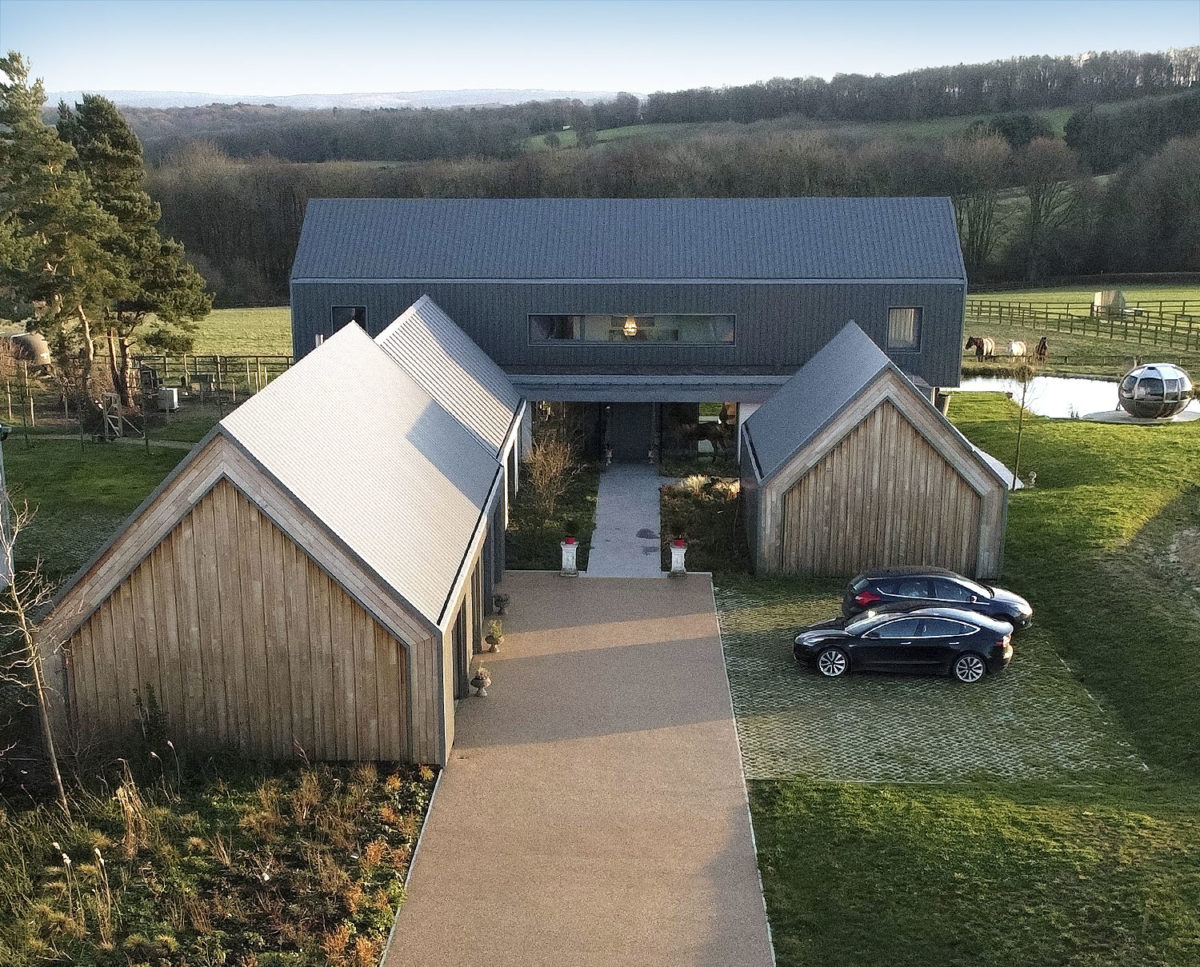 Aerial view of entrance at View Point (Para 55). Designed by Hawkes Architecture, this energy efficient grand design, follows passive house principles.