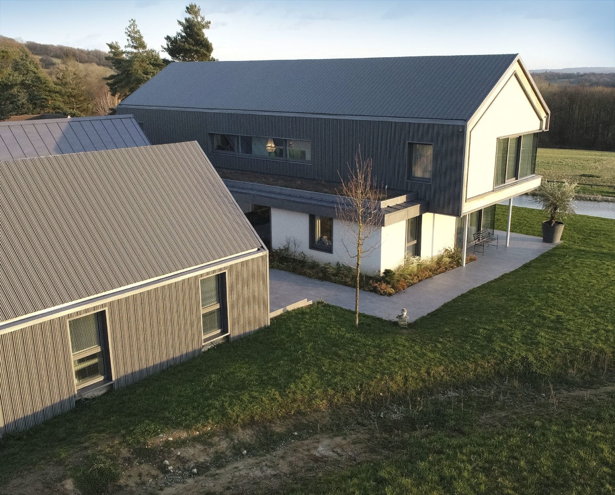 Side view at View Point (Para 55). Designed by Hawkes Architecture, this energy efficient grand design, follows passive house principles.