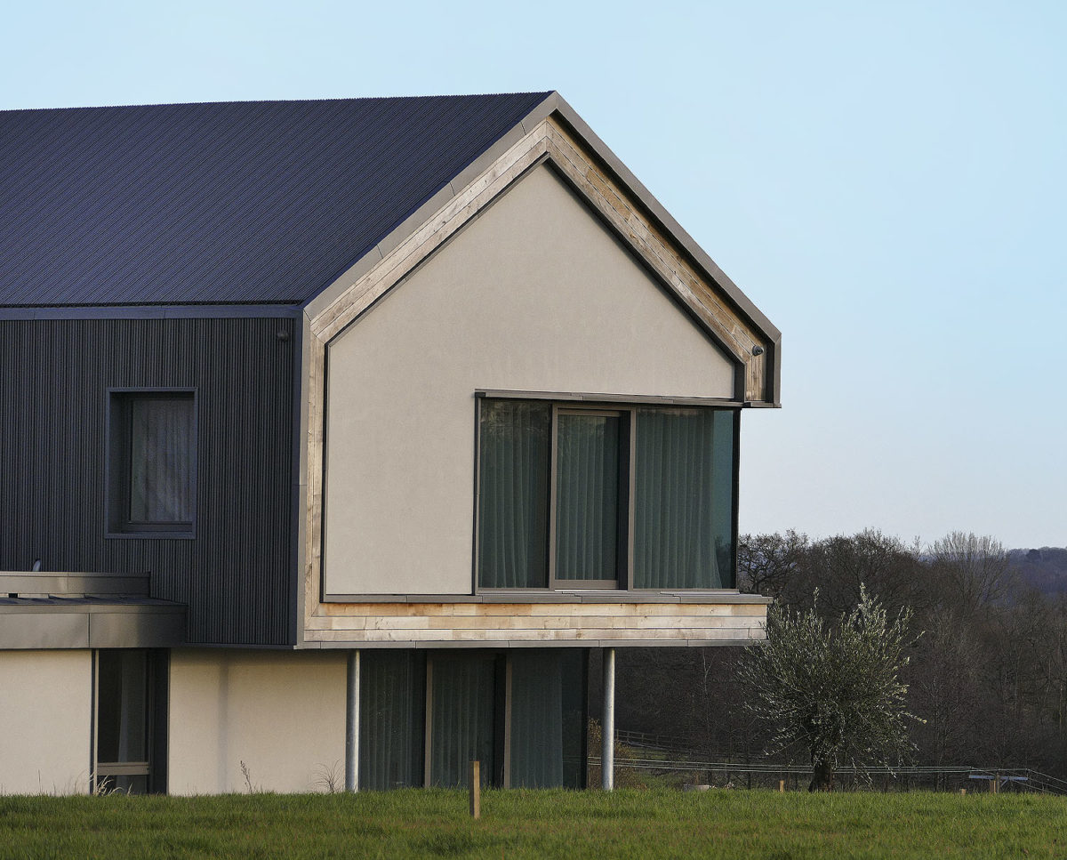 Cladding detail at View Point (Para 55). Designed by Hawkes Architecture, this energy efficient grand design, follows passive house principles.