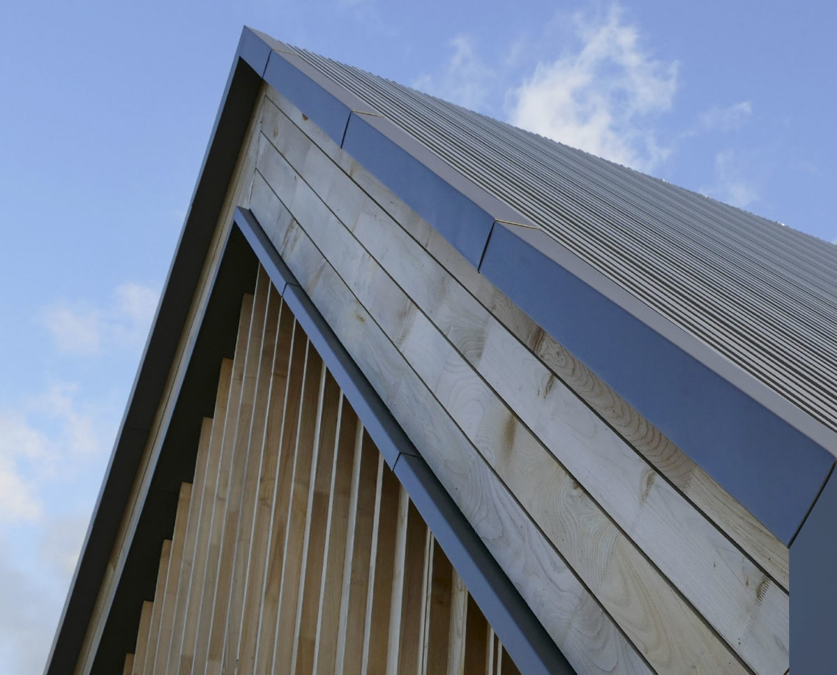Detailed exterior at View Point (Para 55). Designed by Hawkes Architecture, this energy efficient grand design, follows passive house principles.