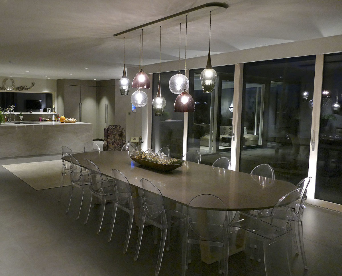 The dinning room at View Point (Para 55). Designed by Hawkes Architecture, this energy efficient grand design, follows passive house principles.