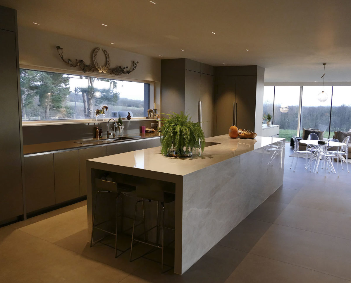 The kitchen at View Point (Para 55). Designed by Hawkes Architecture, this energy efficient grand design, follows passive house principles.