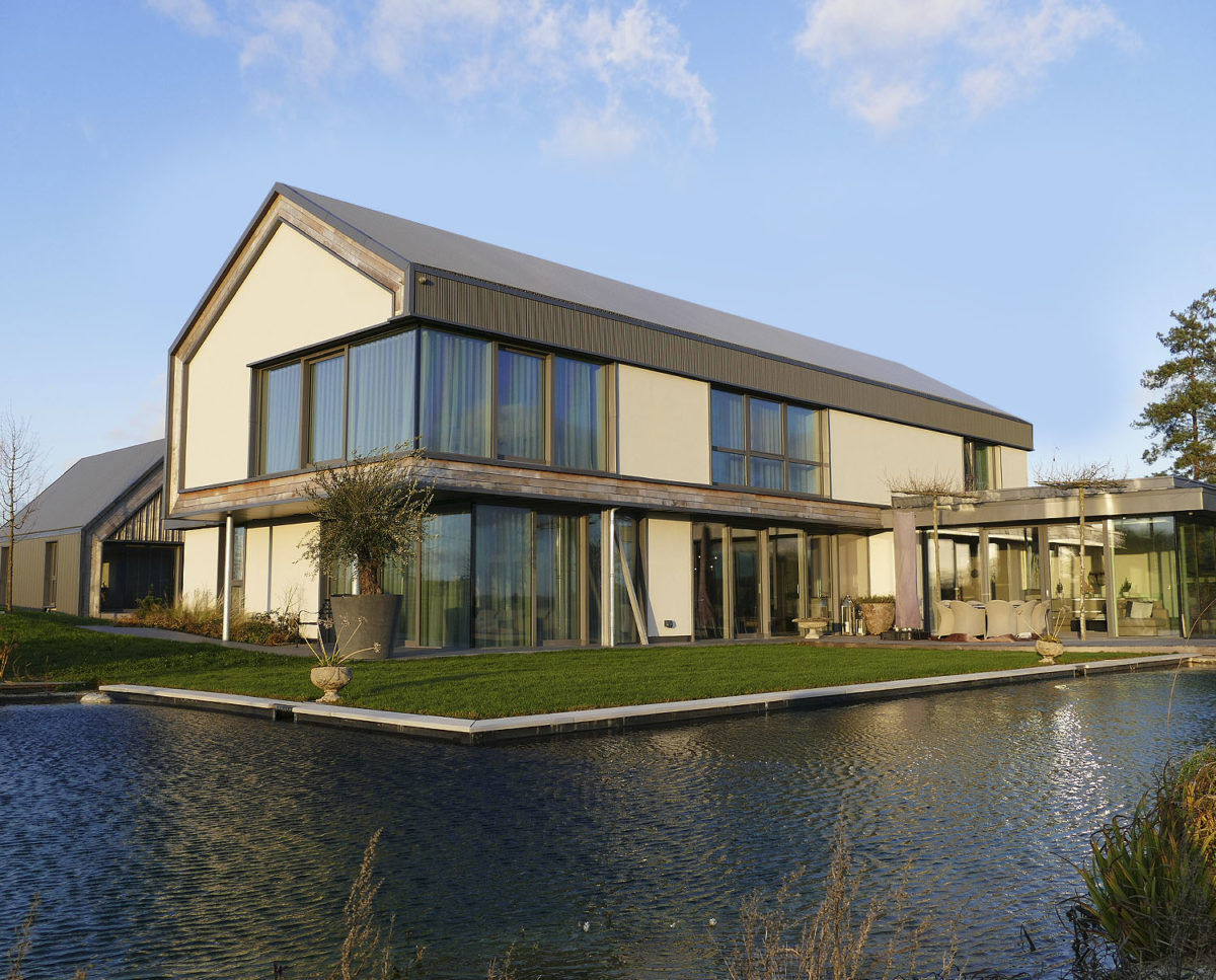Side elevation at View Point (Para 55). Designed by Hawkes Architecture, this energy efficient grand design, follows passive house principles.