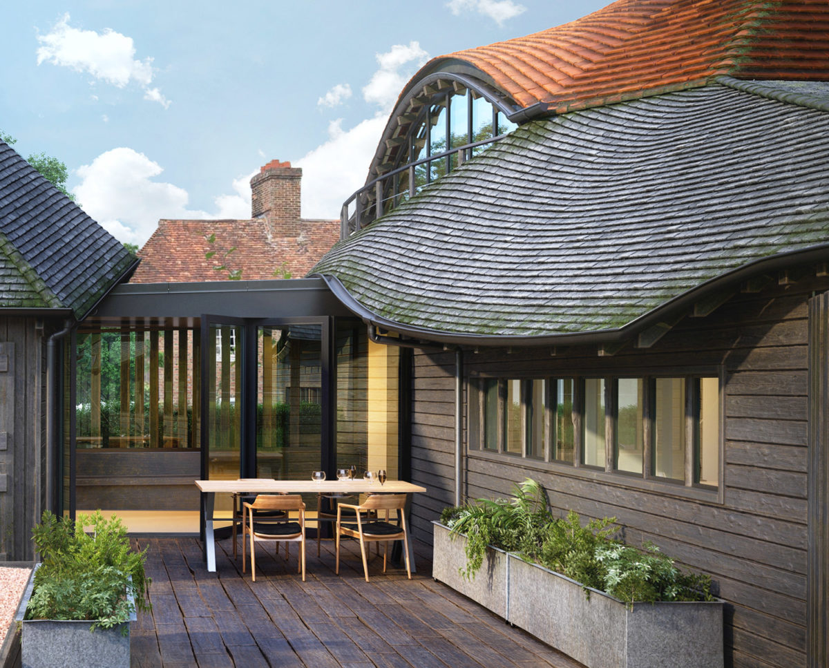 Deck area of Benenden Barn. A family home renovation, designed by Hawkes Architecture.