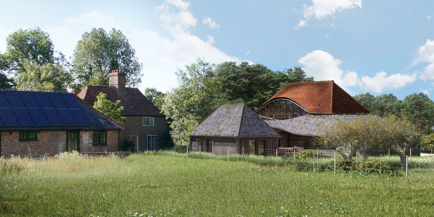 Wide view of Benenden Barn. A family home renovation, designed by Hawkes Architecture.
