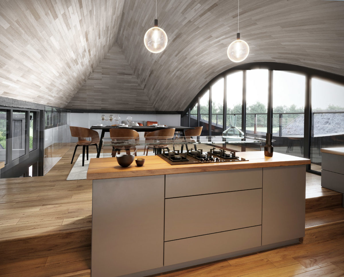 The kitchen at Benenden Barn. A family home renovation, designed by Hawkes Architecture.