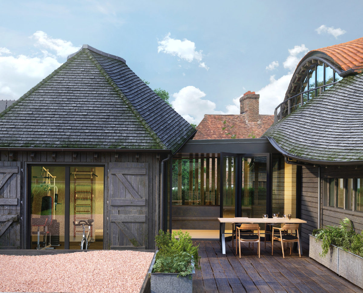 Deck and gym of Benenden Barn. A Para 80 family home renovation, designed by Hawkes Architecture.