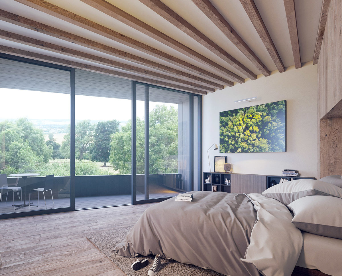 The bedroom of Bergbyr (Para 79). Designed by Hawkes Architecture, this energy efficient grand design, follows passive house principles.