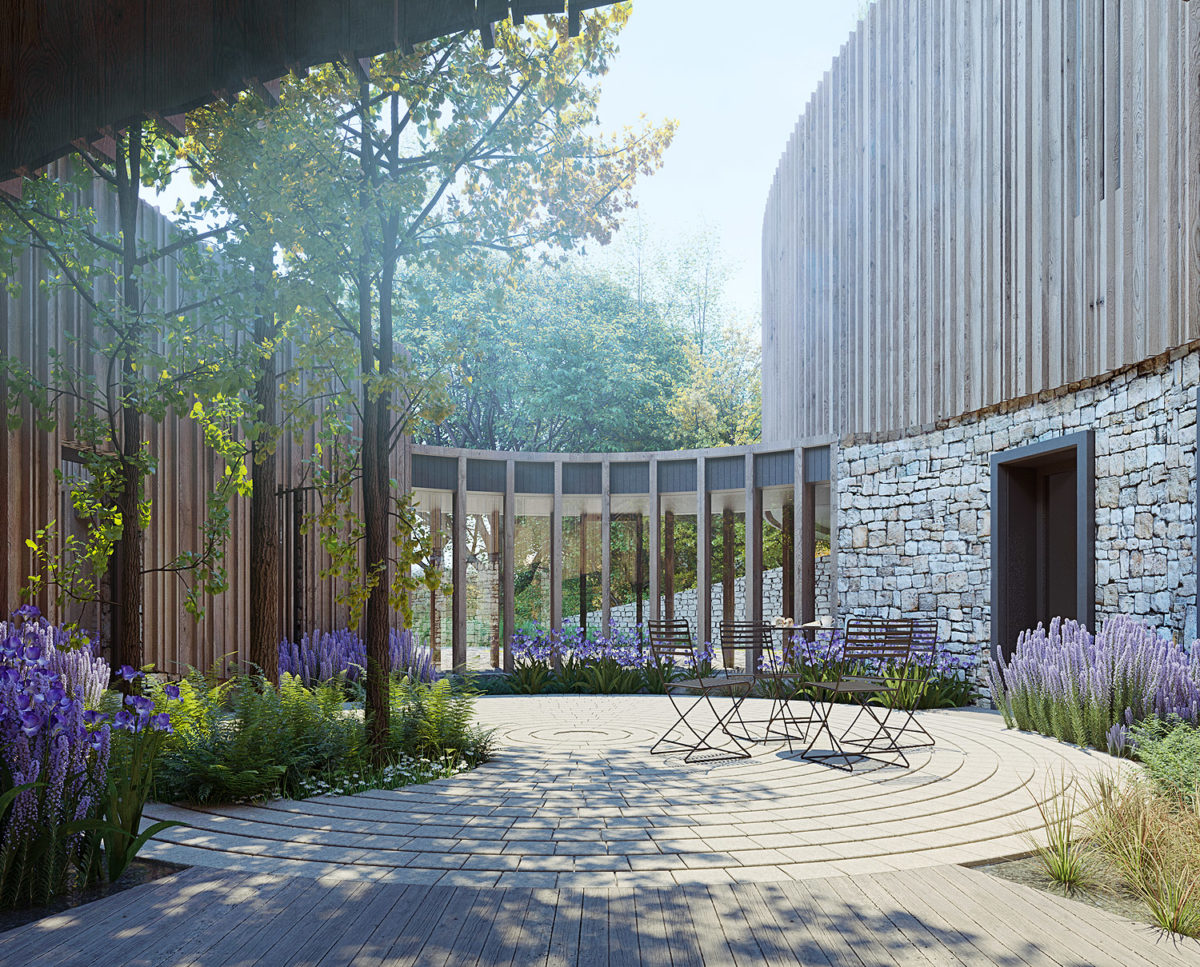 The courtyard of Bergbyr (Para 134). Designed by Hawkes Architecture, this energy efficient grand design, follows passive house principles.