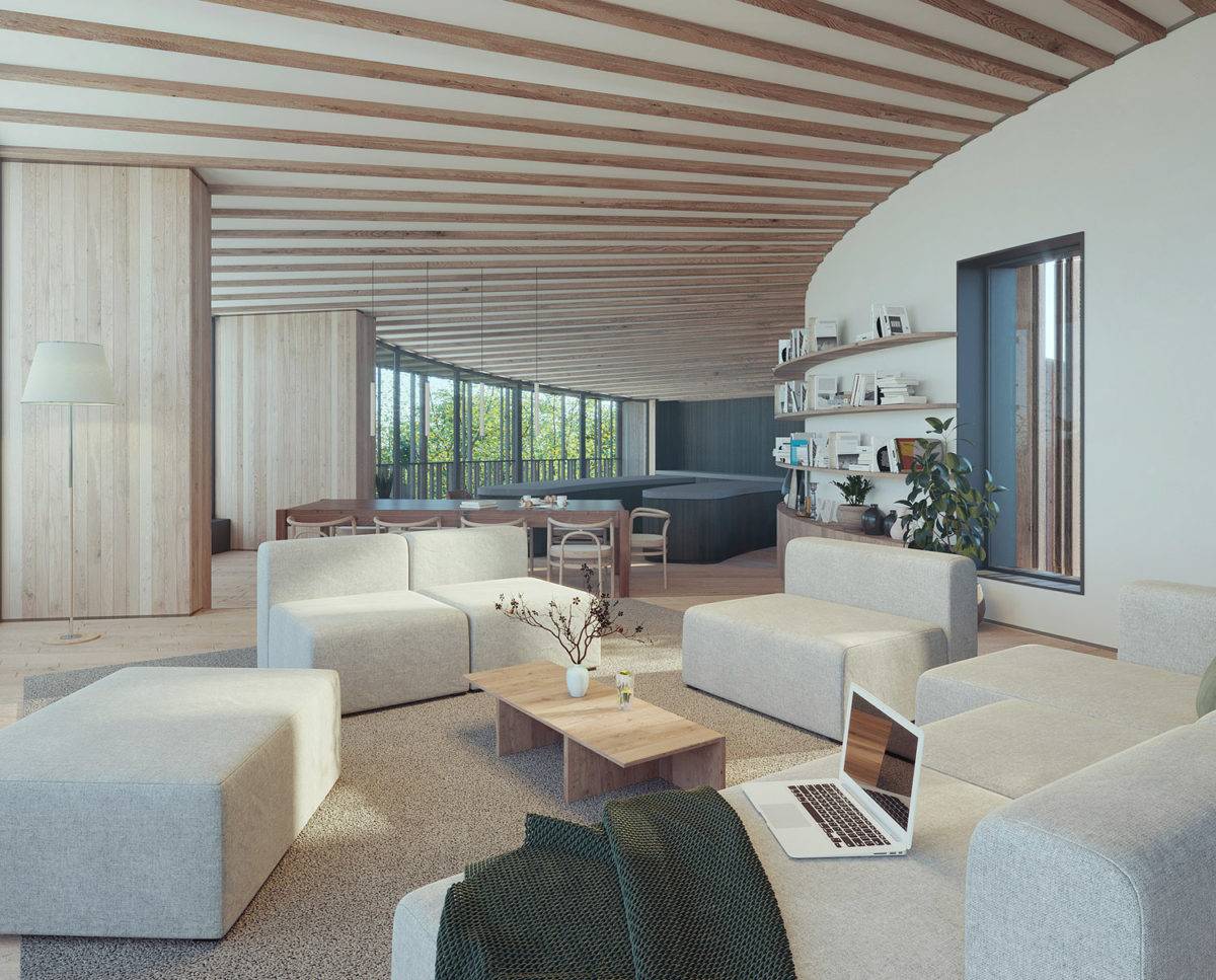 The lounge of Bergbyr (Para 79). Designed by Hawkes Architecture, this energy efficient grand design, follows passive house principles.