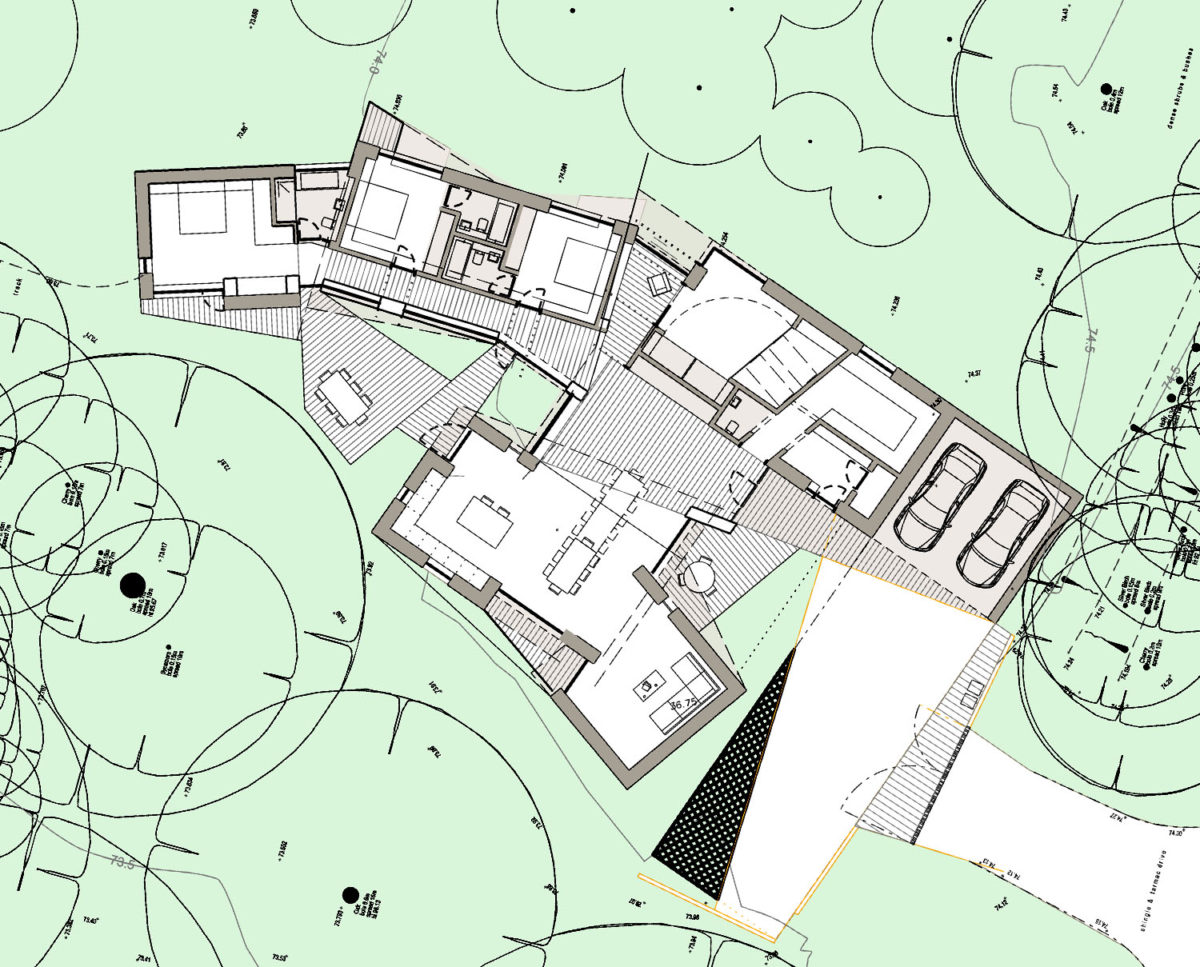 Ground floor plans of House in the Woods. Designed by Hawkes Architecture who specialise in the design of Para 79 houses of exceptional quality and innovative nature of design.