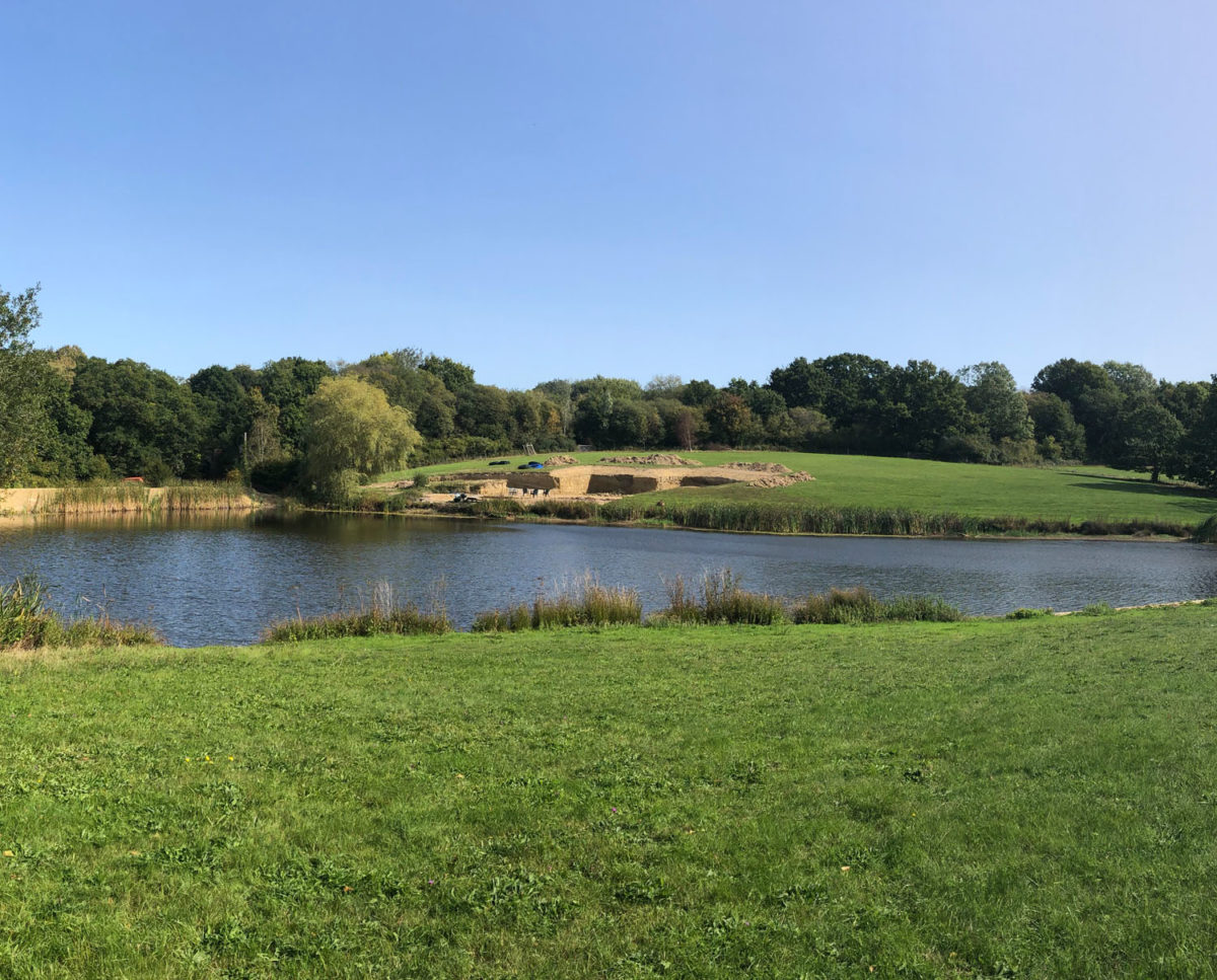 A distant view of Lake House (Para 79) excavation and oversite. Designed by Hawkes Architecture, this energy efficient grand design, follows passive house principles.