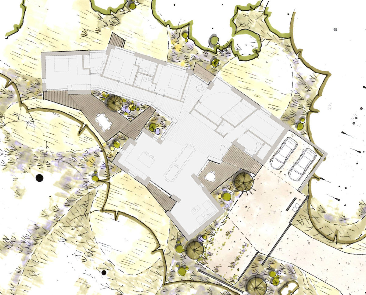 Landscape plan of House in the Woods. Designed by Hawkes Architecture who specialise in the design of Para 79 houses of exceptional quality and innovative nature of design.