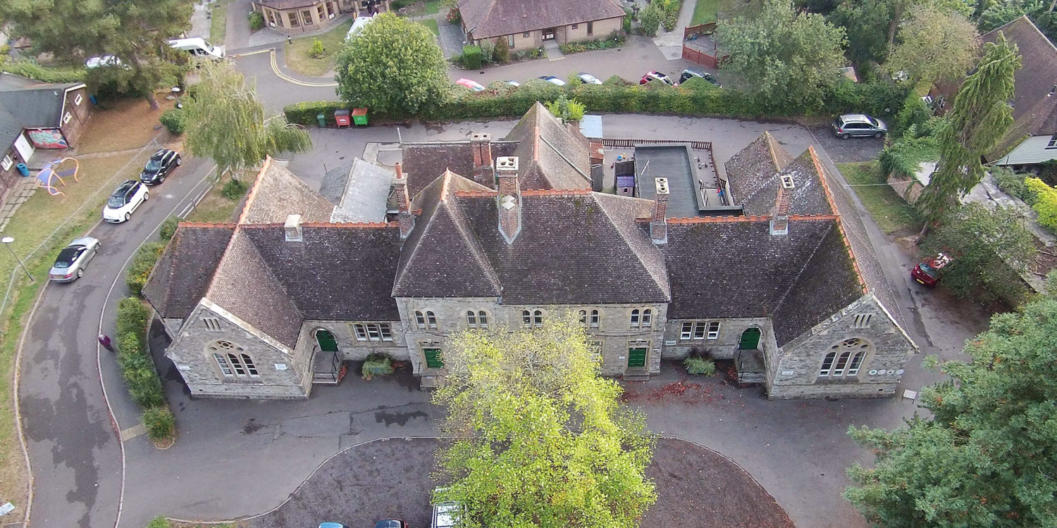 Aerial view of Community Centre, a new build & remodelling project in Staplehurst, designed by Hawkes Architecture.
