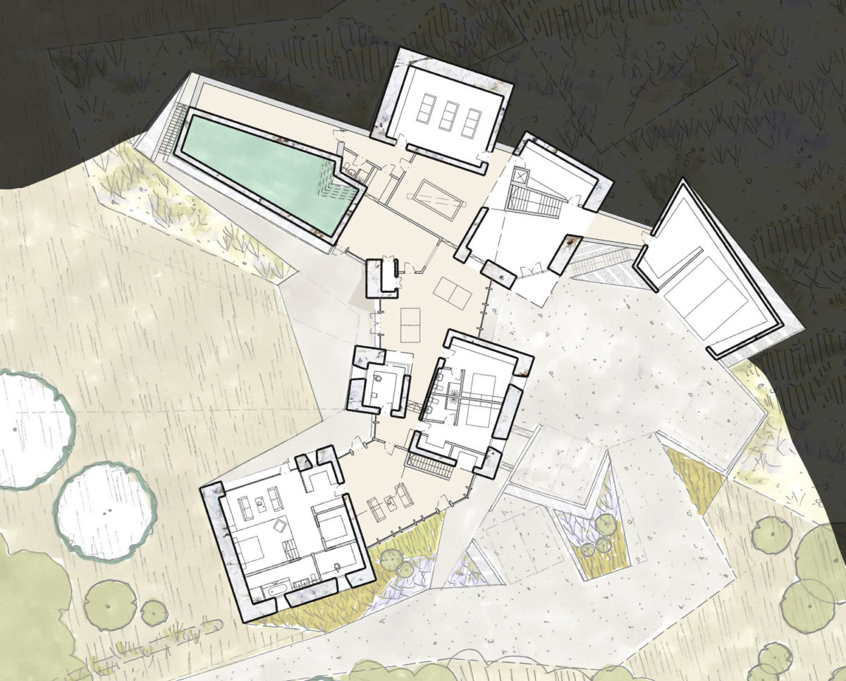 Floor plan of The Chalk Pit (Para 79). Designed by Hawkes Architecture, this energy efficient grand design, follows passive house principles.