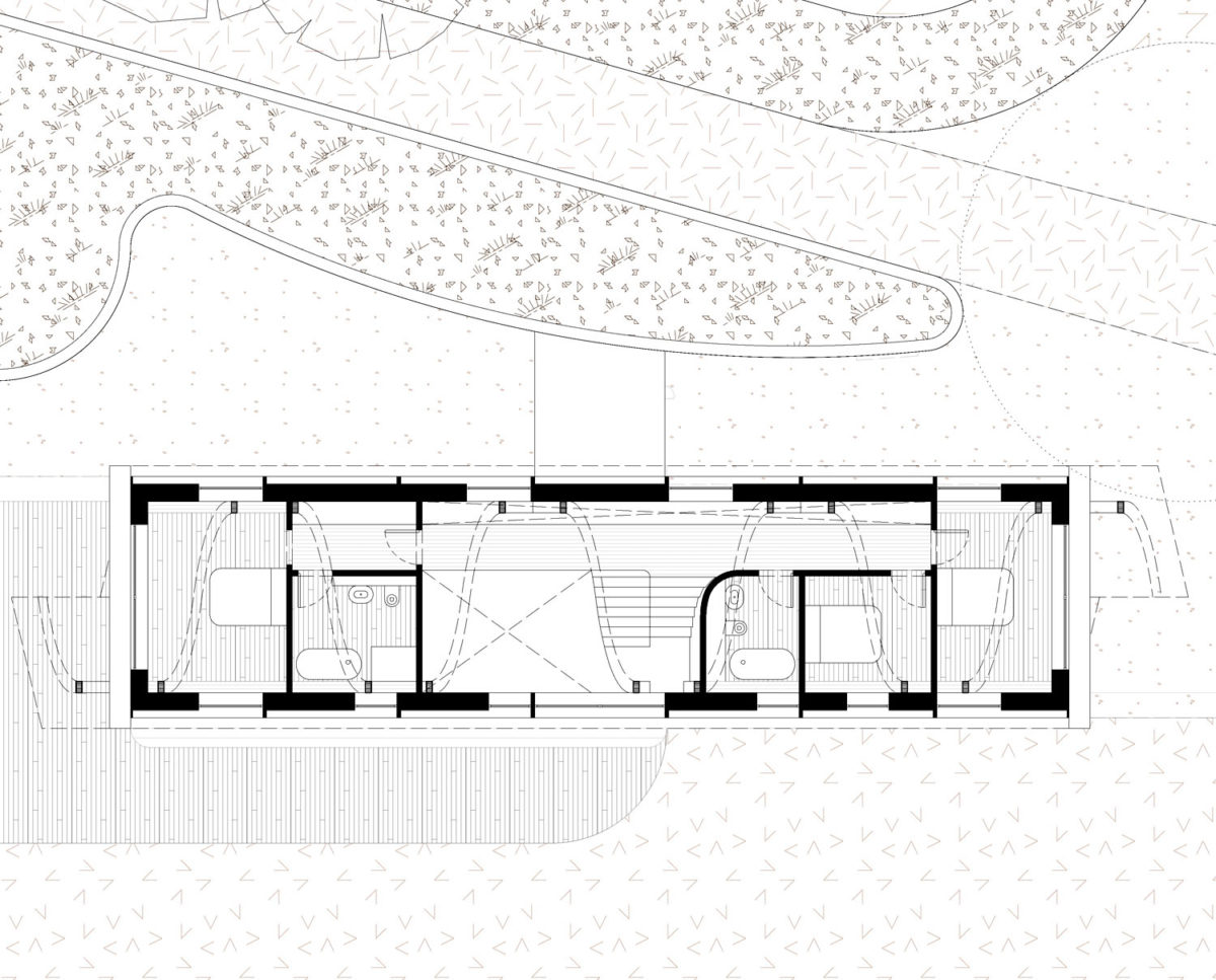 First floor plan of The Linhay (Para 79). Designed by Hawkes Architecture, this energy efficient grand design, follows passive house principles.