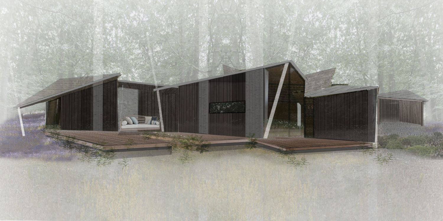 House in the Woods. Designed by Hawkes Architecture who specialise in the design of Para 79 houses of exceptional quality and innovative nature of design.