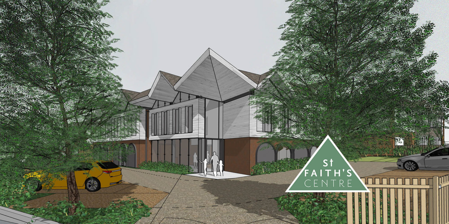 Entrance to St Faiths community centre. Replacement dwelling designed by Hawkes Architecture who specialises in the design of Para 79 houses of exceptional quality and innovative nature of design.