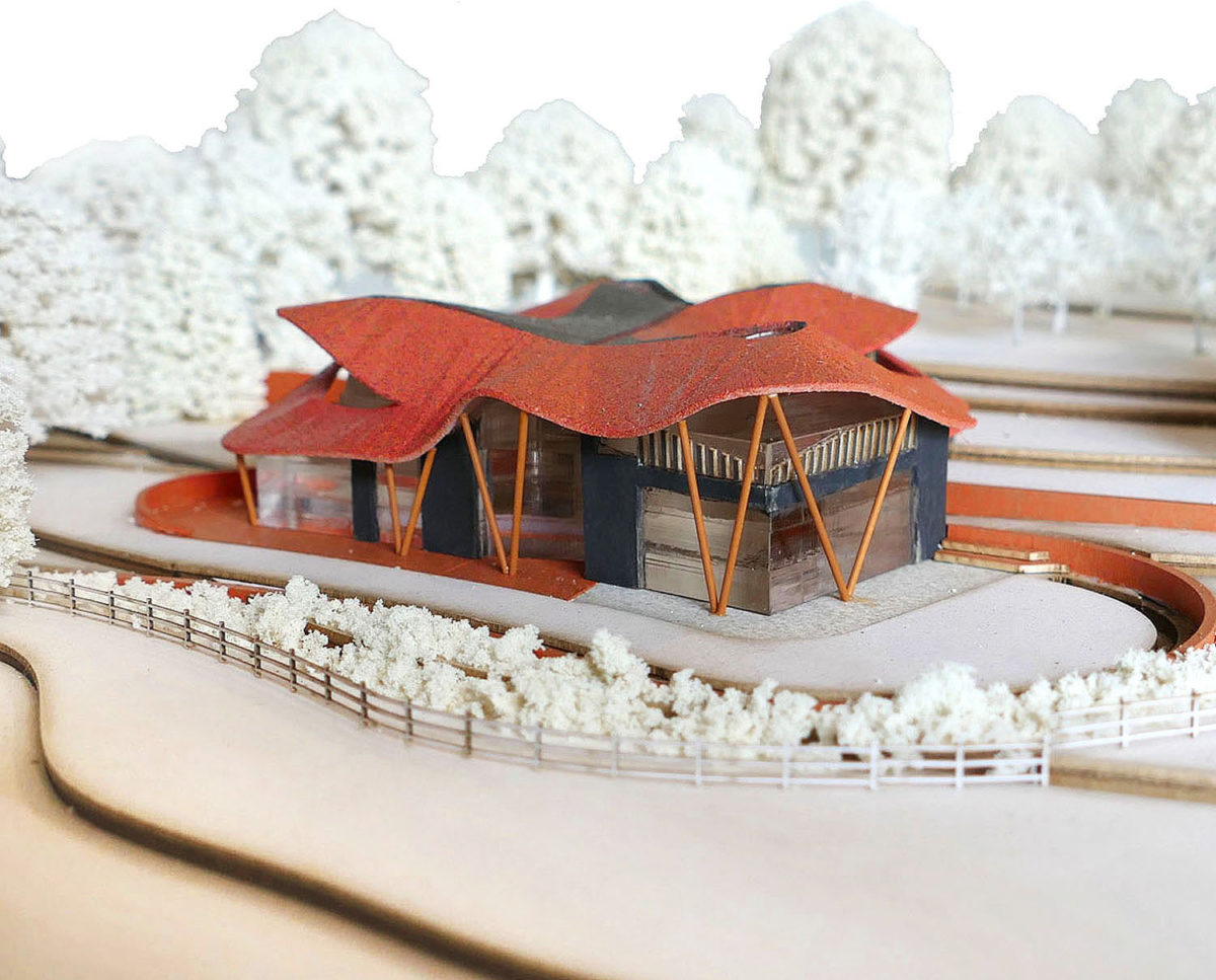 Model of Water Lane (Para 79). Designed by Hawkes Architecture, this energy efficient grand design, follows passive house principles.