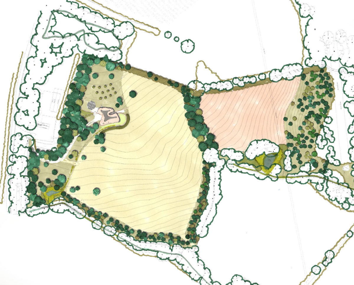 Landscape plan of Water Lane (Para 79). Designed by Hawkes Architecture, this energy efficient grand design, follows passive house principles.