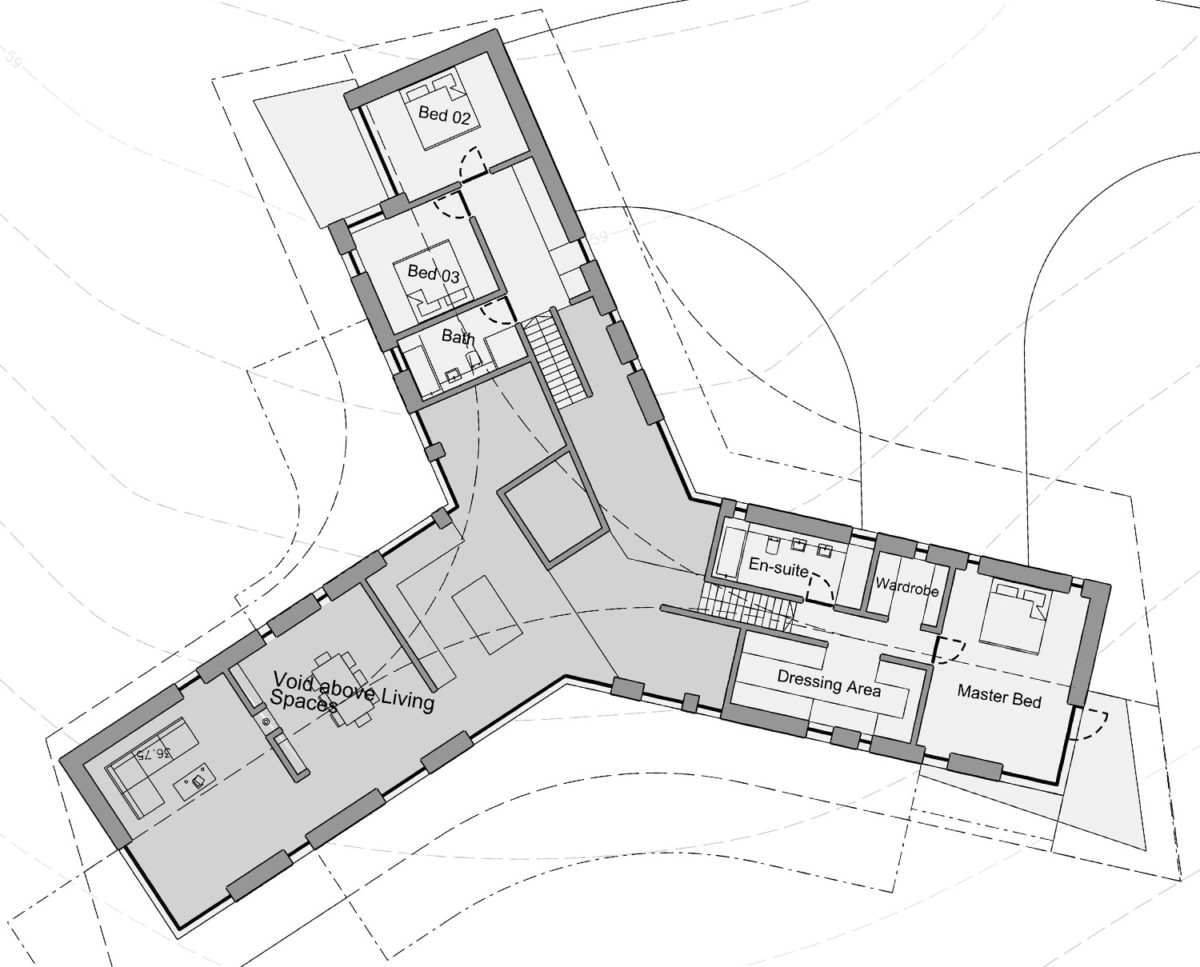 First floor plan of Four Oaks (Para 79). Designed by Hawkes Architecture, this energy efficient grand design, follows passive house principles.