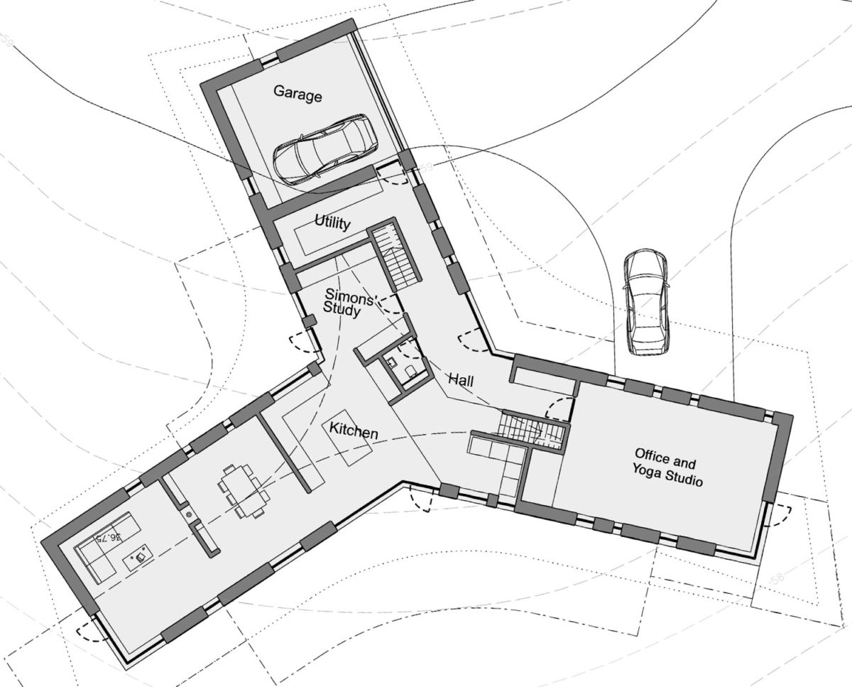Ground floor plans of Four Oaks (Para 79). Designed by Hawkes Architecture, this energy efficient grand design, follows passive house principles.