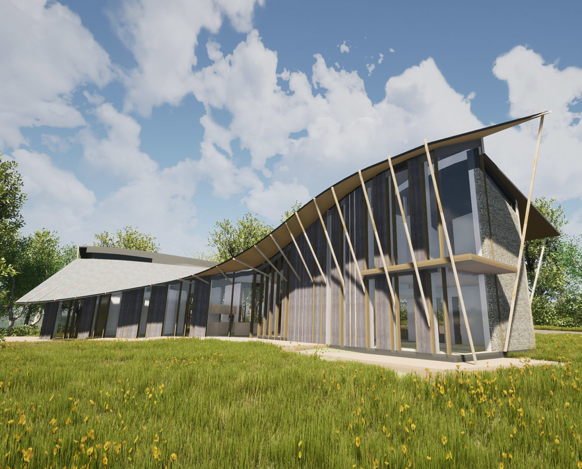 The rear elevation of Four Oaks (Para 79). Designed by Hawkes Architecture, this energy efficient grand design, follows passive house principles.