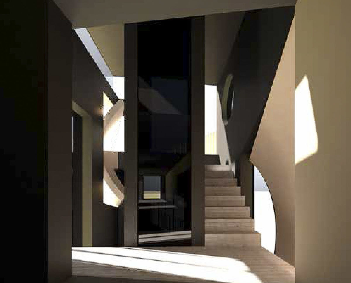 The lift interior of Mossie (Para 79). Designed by Hawkes Architecture, this energy efficient grand design, follows passive house principles.