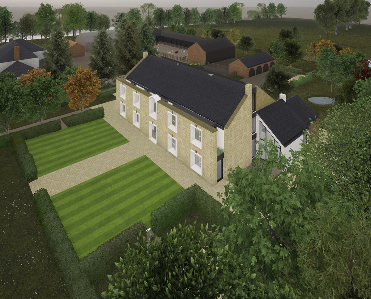 Aerial view of the house at North Yorkshire (Para 79). Designed by Hawkes Architecture, this energy efficient grand design, follows passive house principles.