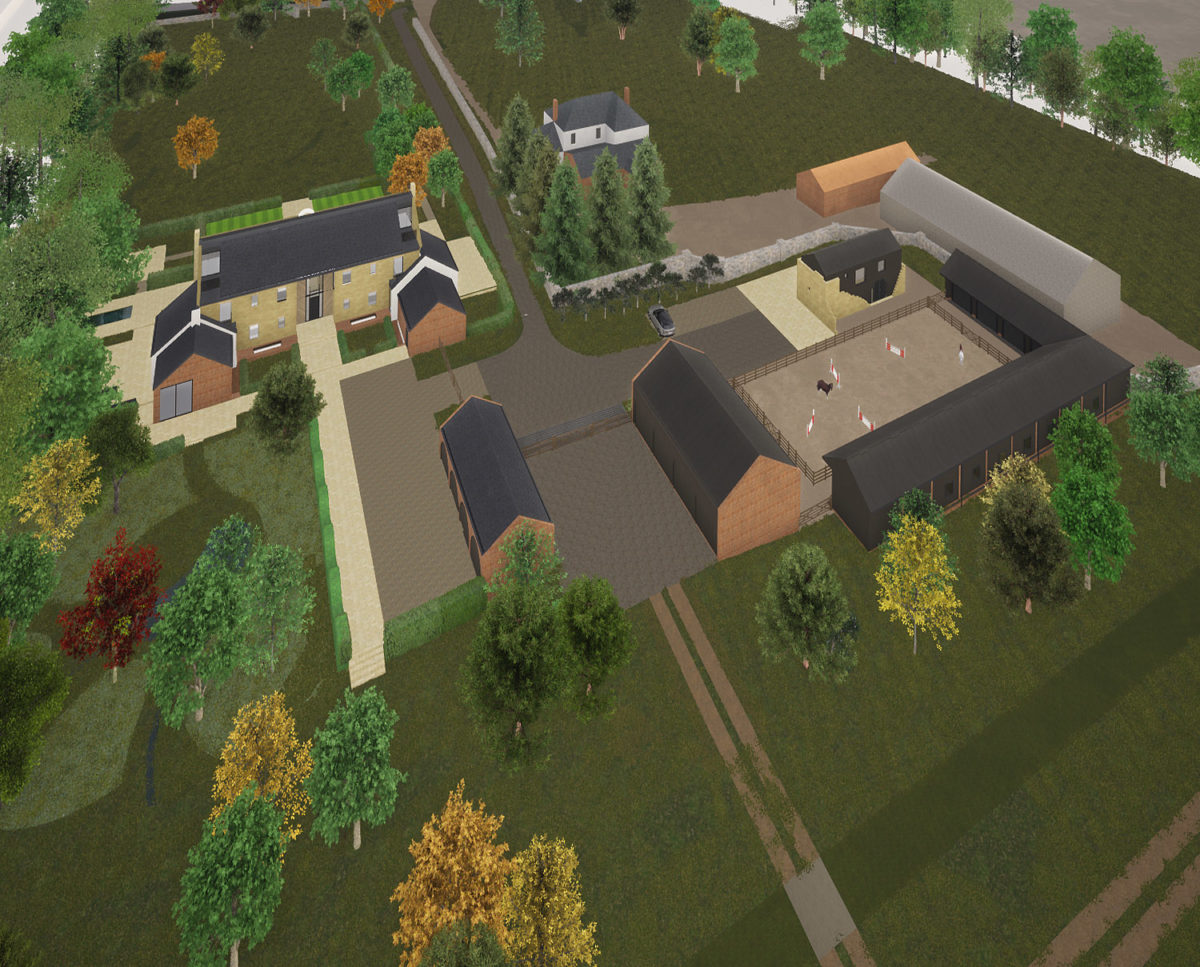 Aerial view of North Yorkshire (Para 79). Designed by Hawkes Architecture, this energy efficient grand design, follows passive house principles.
