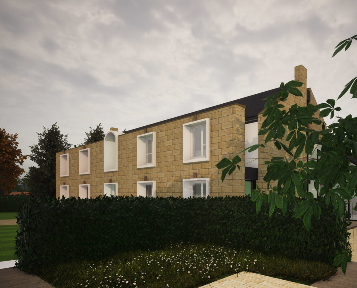 Front elevation of North Yorkshire (Para 79). Designed by Hawkes Architecture, this energy efficient grand design, follows passive house principles.