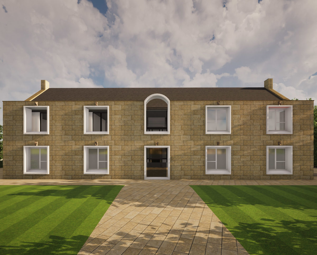 House front of North Yorkshire (Para 79). Designed by Hawkes Architecture, this energy efficient grand design, follows passive house principles.
