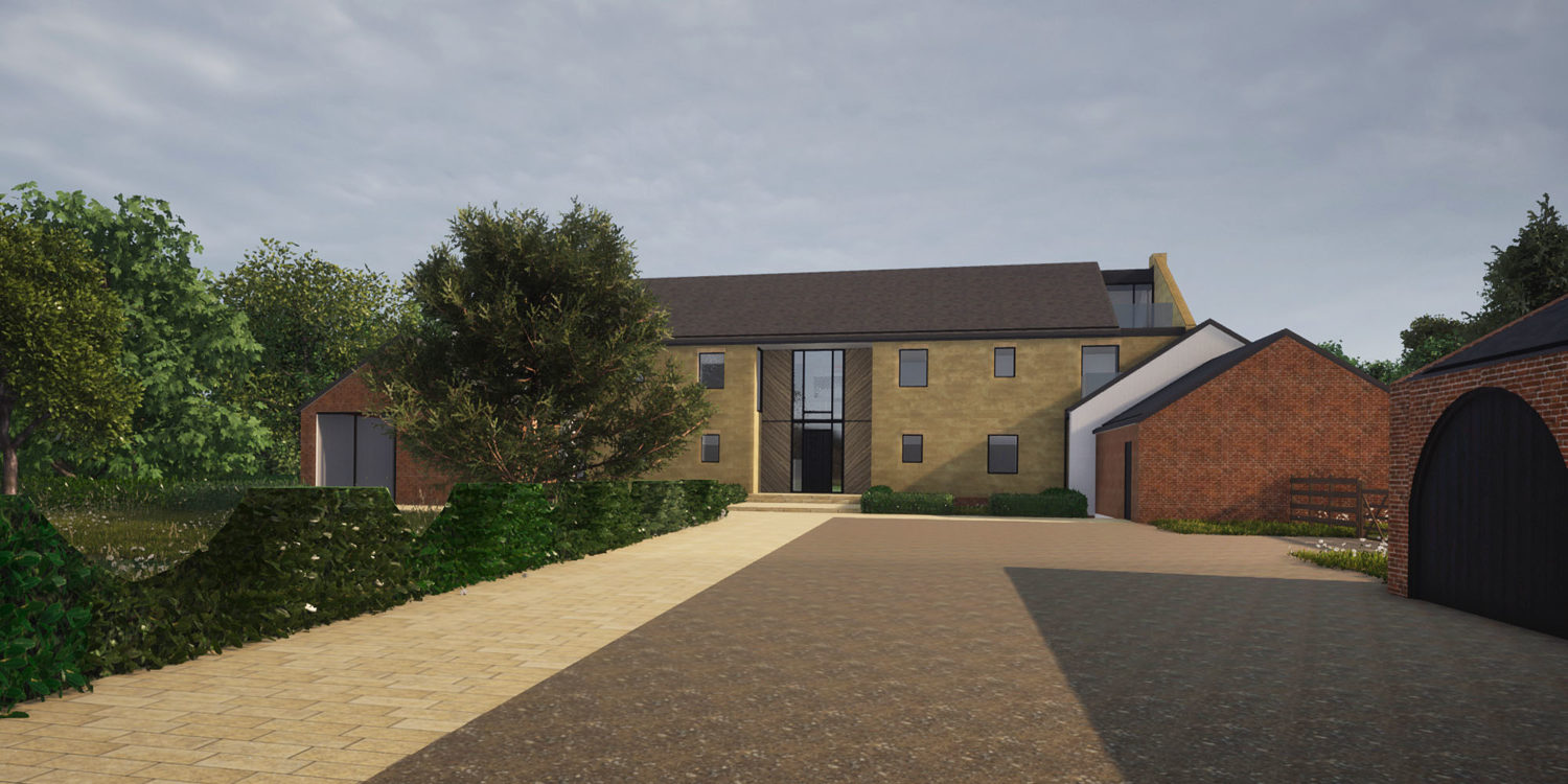 Rear elevation of North Yorkshire (Para 79). Designed by Hawkes Architecture, this energy efficient grand design, follows passive house principles.