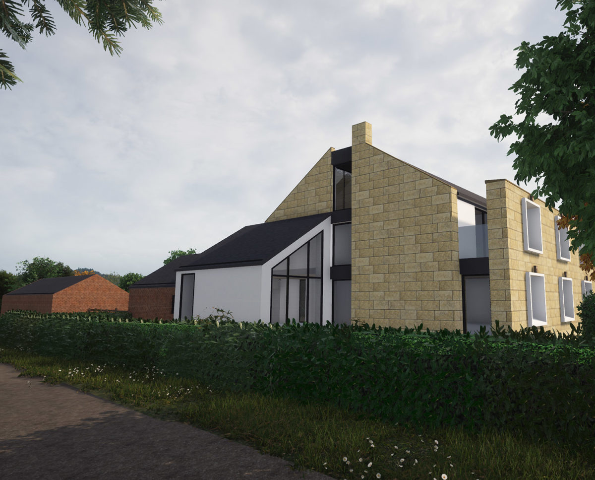 Road elevation of North Yorkshire (Para 79). Designed by Hawkes Architecture, this energy efficient grand design, follows passive house principles.