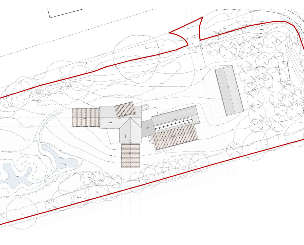 Aerial view plans of Red Oaks (Para 134). Designed by Hawkes Architecture, this energy efficient grand design, follows passive house principles.