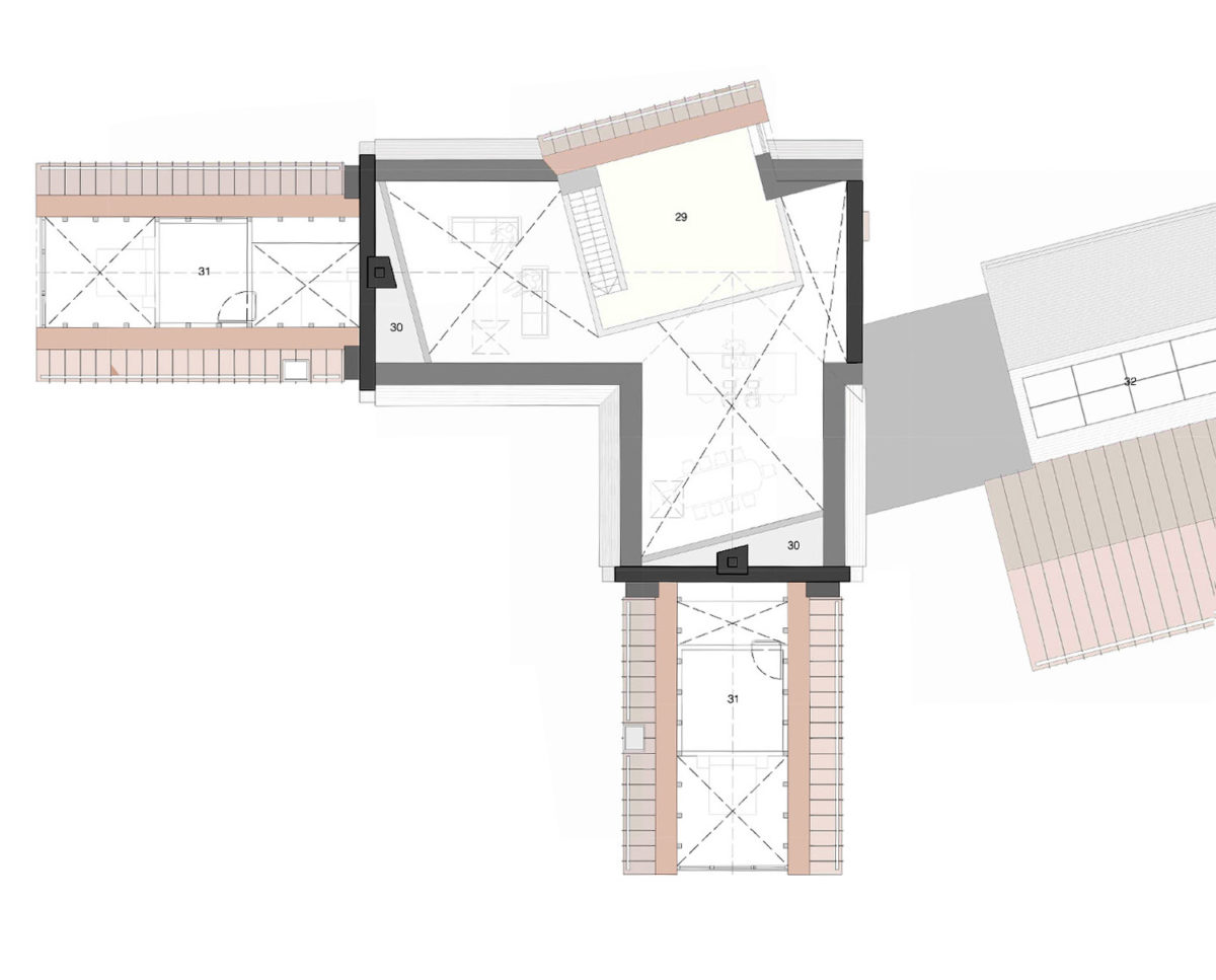 First Floor plans of Red Oaks (Para 134). Designed by Hawkes Architecture, this energy efficient grand design, follows passive house principles.