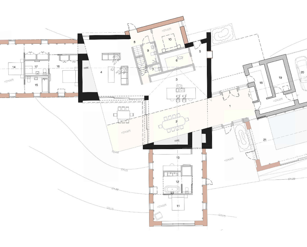 Ground floor plans of Red Oaks (Para 134). Designed by Hawkes Architecture, this energy efficient grand design, follows passive house principles.