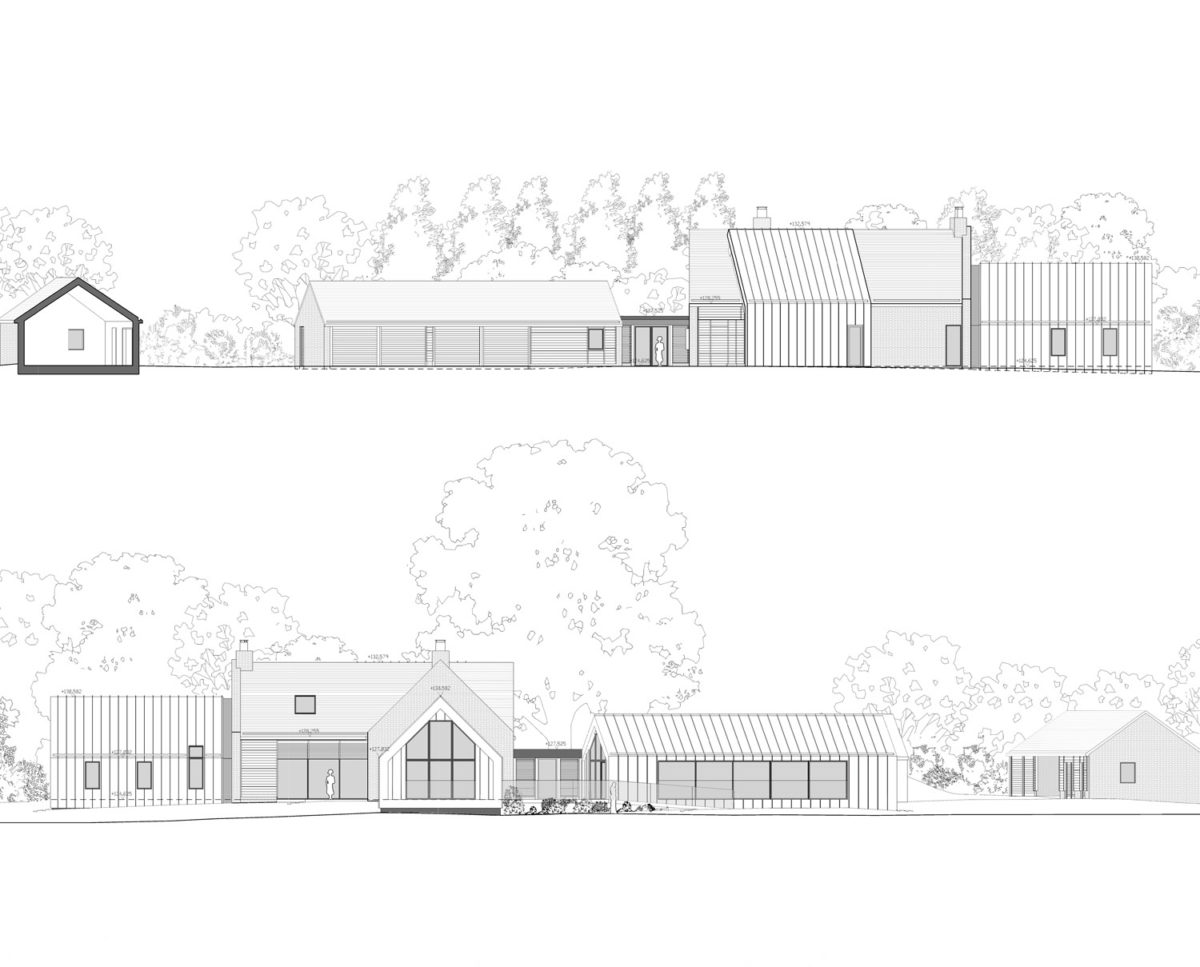 North and south elevation drawings of Red Oaks (Para 134). Designed by Hawkes Architecture, this energy efficient grand design, follows passive house principles.