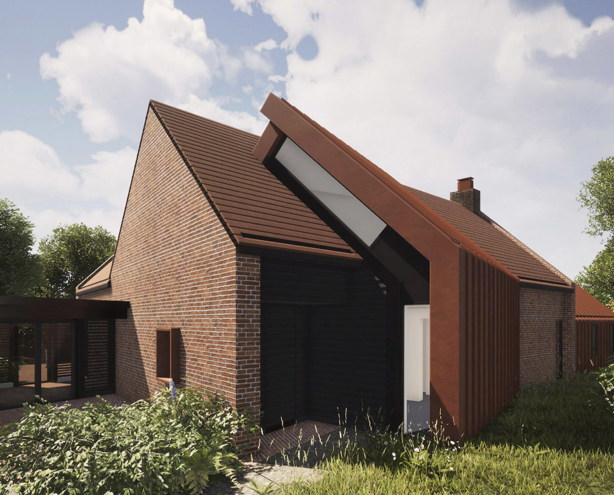 Rear elevation of Red Oaks (Para 134). Designed by Hawkes Architecture, this energy efficient grand design, follows passive house principles.