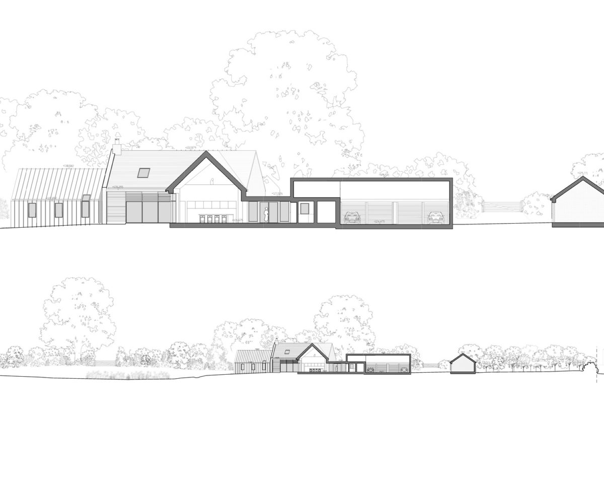 Section of Red Oaks (Para 134). Designed by Hawkes Architecture, this energy efficient grand design, follows passive house principles.